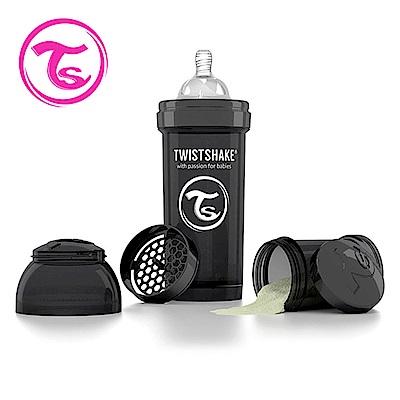 Twistshake 瑞典時尚 彩虹奶瓶/防脹氣奶瓶260ml/奶嘴口徑0.5mm-騎士黑