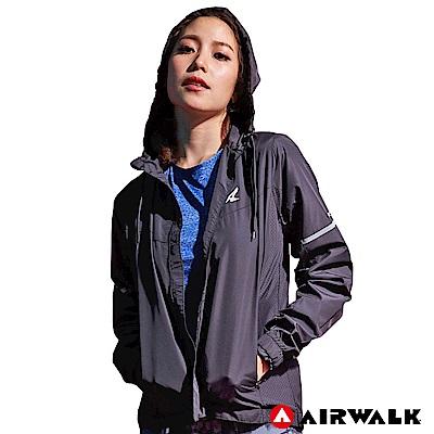 【AIRWALK】女款連帽收納風衣外套-黑