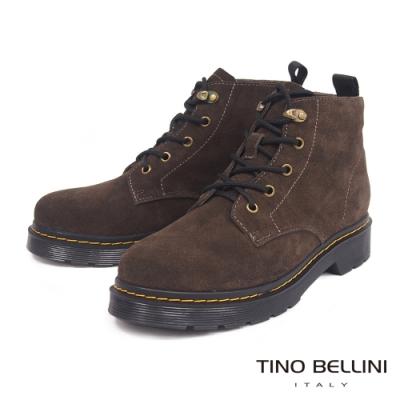 Tino Bellini率性男孩風全真皮綁帶工程短靴_深咖