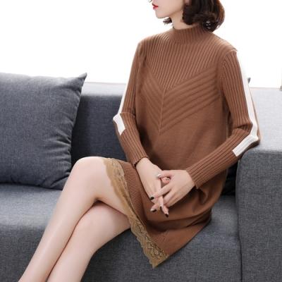 初色  蕾絲拼接毛衣裙-共4色-(M-XL可選)