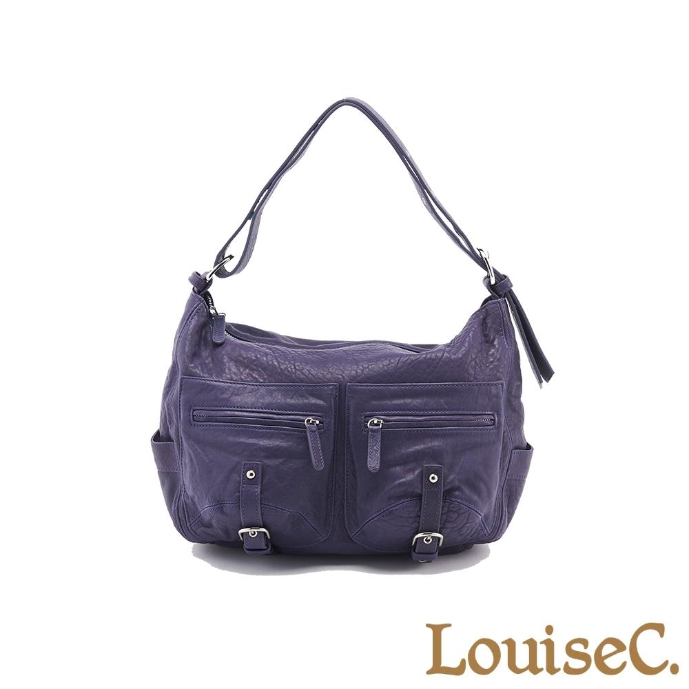 【LouiseC.】義大利水洗羊皮愛旅包-藍紫色 (LC3143-09)