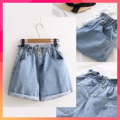 [時時樂限定] SUPER COLOR 日系簡約百搭高腰牛仔短褲(淺藍)