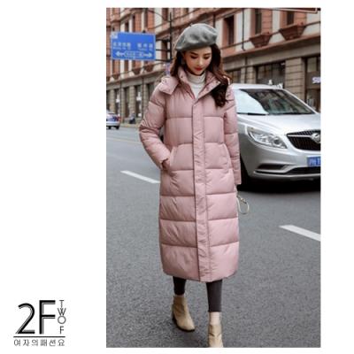 2F韓衣-韓系立領金屬扣造型防風鋪棉長大衣-秒