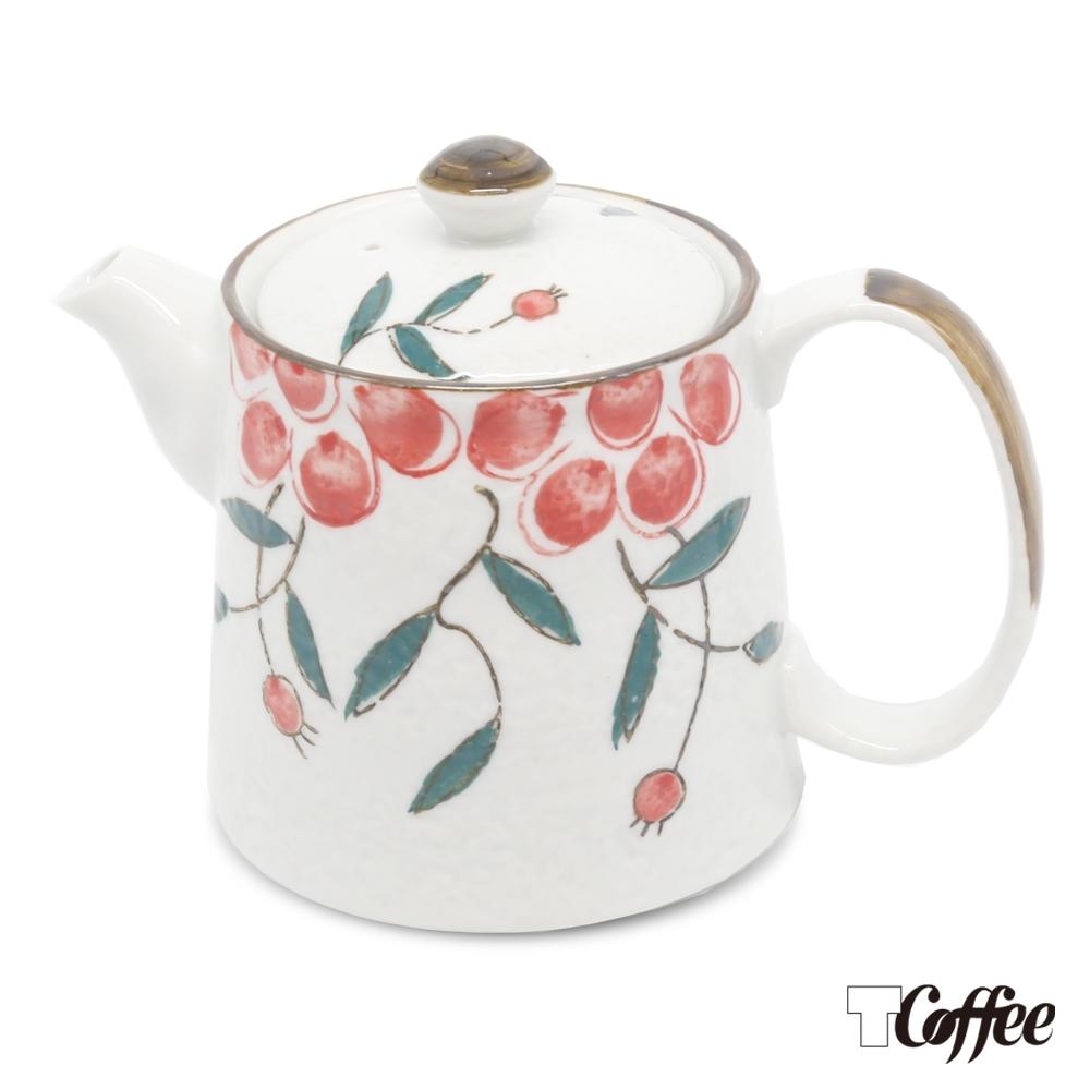 TCoffee MILA-日式手繪咖啡壺 紅果花500ml