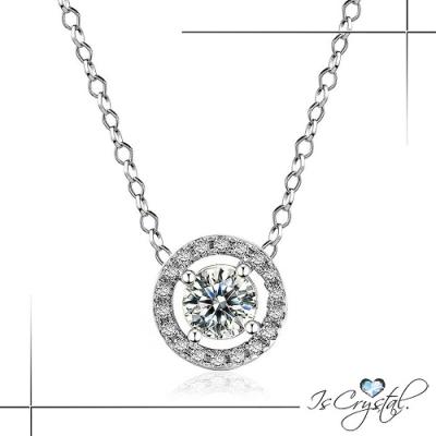 伊飾晶漾iSCrystal 浪漫星塵 圓形水鑽白銀項鍊