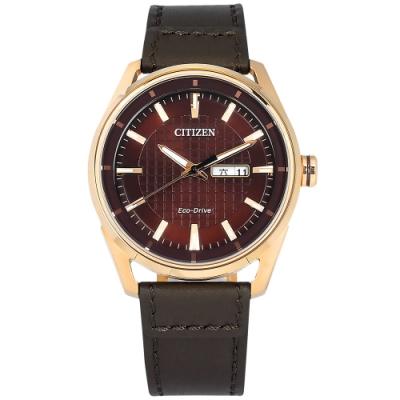 CITIZEN / 光動能 格紋時尚 星期日期顯示 小牛皮手錶 (AW0083-08X)-咖啡x玫瑰金框/42mm