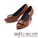 Fair Lady Soft芯太軟 時髦黑框尖頭高跟鞋 棕