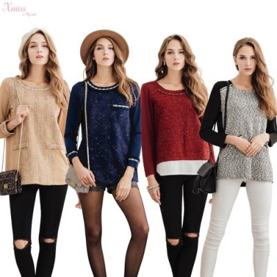 CorpoX  & Xmiss 毛呢上衣四件組(卡其/紅/黑/藍)