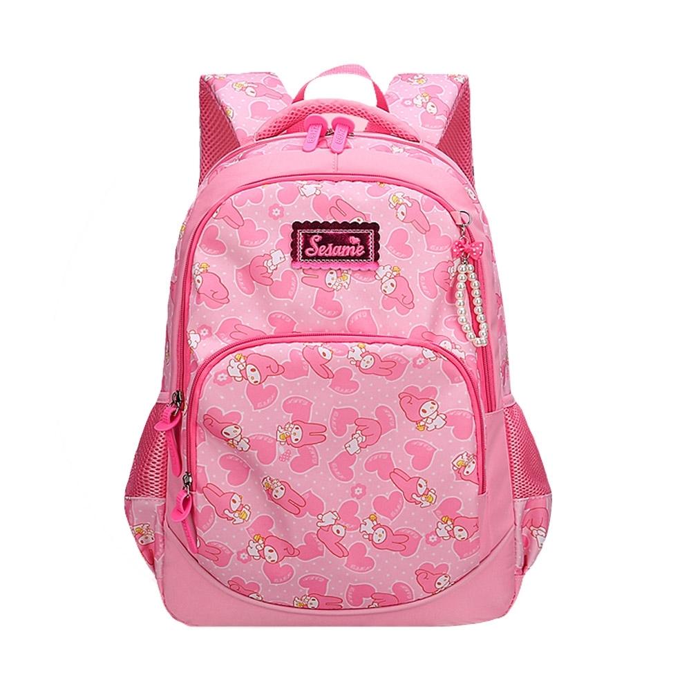 DF童趣館 - 可愛公主風愛心兔兒童反光條雙肩後背包-共3色