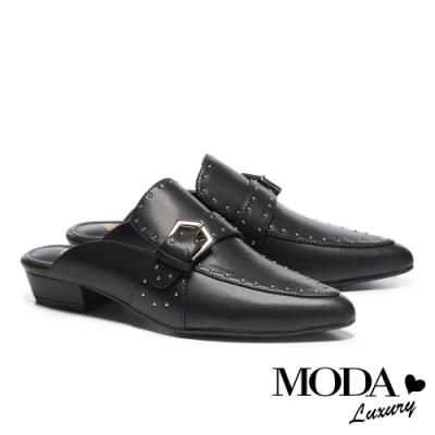 拖鞋 MODA Luxury 復古個性鉚釘點綴尖頭低跟穆勒拖鞋-黑