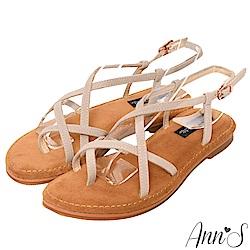 Ann'S水洗牛皮-美式女孩夾腳寬版平底涼鞋-米