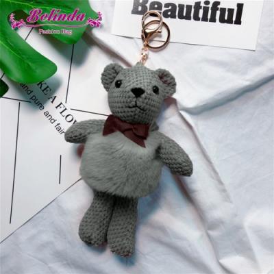 【Belinda】毛毛肚熊娃娃絨毛吊飾鎖圈配件(灰色)