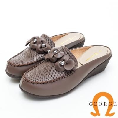GEORGE 喬治皮鞋 花型水鑽契型穆勒鞋-可可色