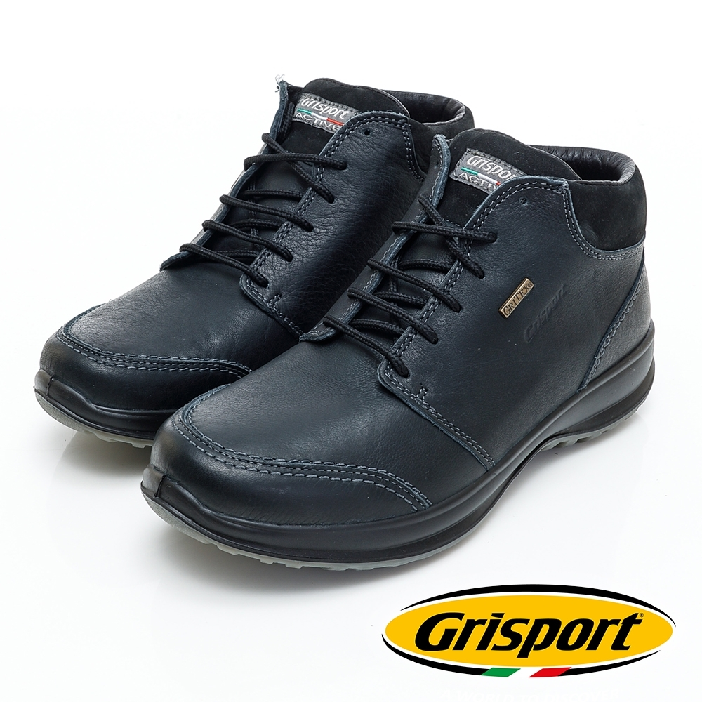 Grisport 義大利進口-綁帶厚底高筒休閒鞋-黑色