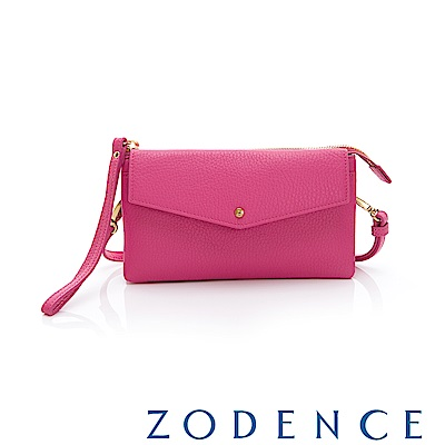 ZODENCE ERATO系列 進口彩色牛皮信封蓋皮夾包(小) 桃紅