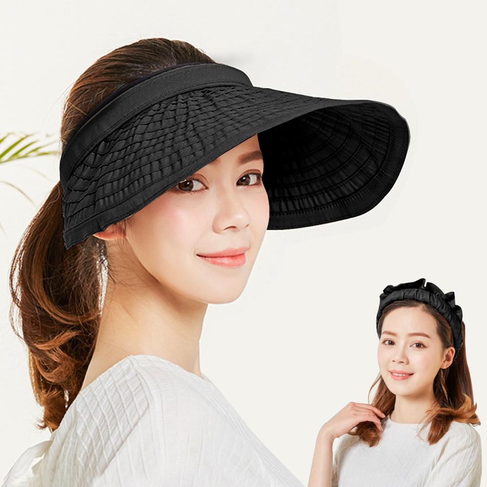 幸福揚邑 防曬抗UV髮圈大帽檐顯瘦可折疊空頂遮陽帽-黑