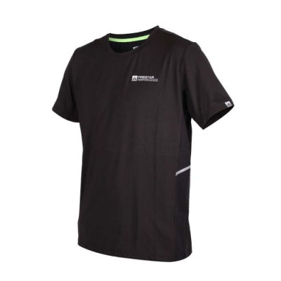 FIRESTAR 男彈性短袖圓領衫-慢跑 路跑 短袖T恤 黑