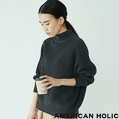 AMERICAN HOLIC 寬鬆高領粗針織上衣