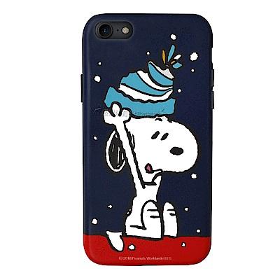Snoopy史努比 iPhone 7 / iPhone 8 耐磨抗刮插畫手機殼(毛帽)