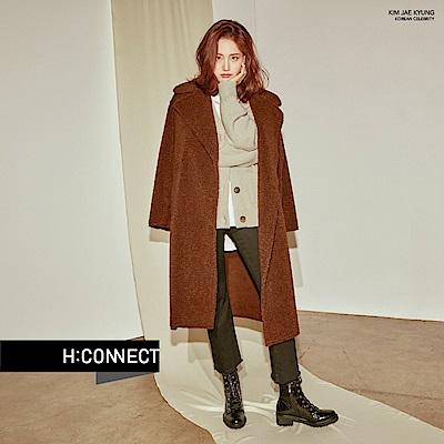 H:CONNECT 韓國品牌 女裝 - 翻領溫暖毛呢大衣 - 棕