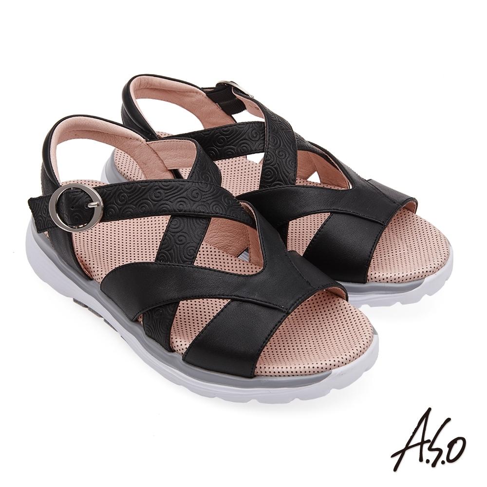A.S.O 輕穩氣墊鞋壓紋牛皮休閒涼鞋-黑色