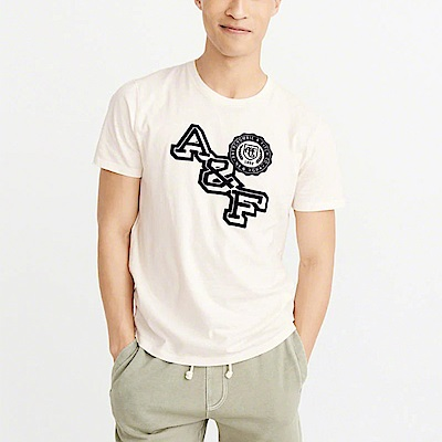 A&F 經典刺繡文字設計短袖T恤-米白色 AF Abercrombie