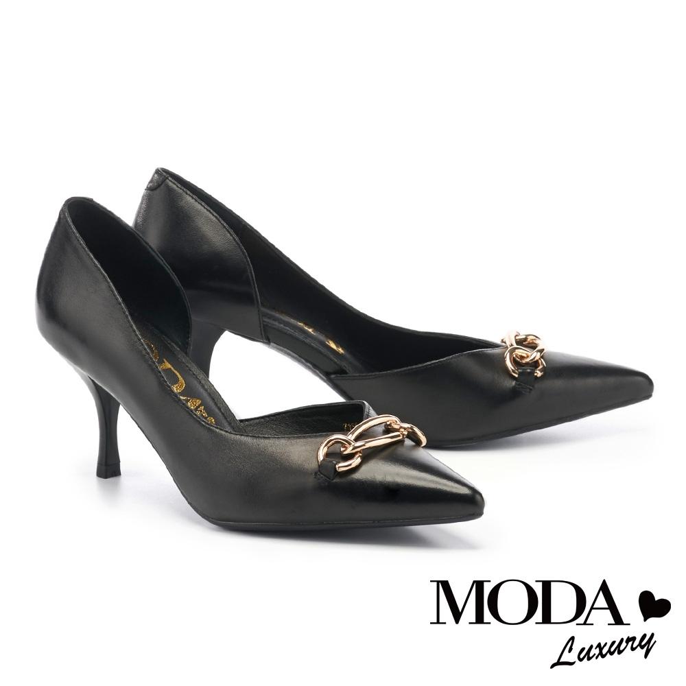 高跟鞋 MODA Luxury 別致輕熟金屬環釦羊皮尖頭高跟鞋-黑