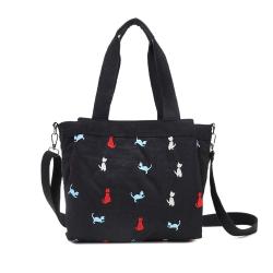 CABACI 淘氣小貓繡線輕量防潑水多隔層肩背斜背二用包-黑色