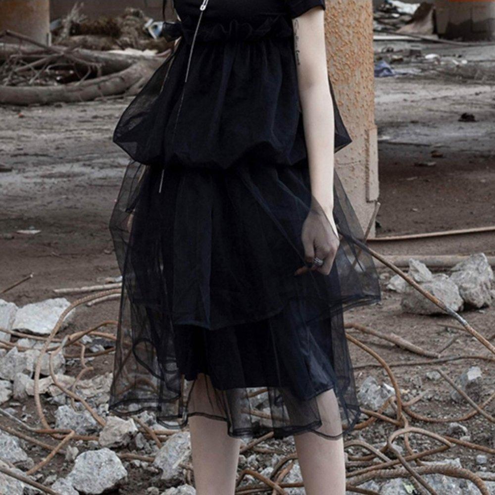 設計所在Style-暗黑風透氣層次網紗裙蓬蓬裙