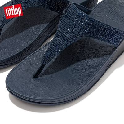 【FitFlop】LULU CRYSTAL EMBELLISHED TOE-POST SANDALS 經典水鑽夾腳涼鞋-女(午夜藍)