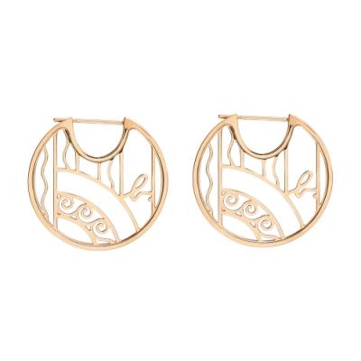 agnes b. Rue Dieu 鏤空設計玫瑰金耳環(女)(針式)