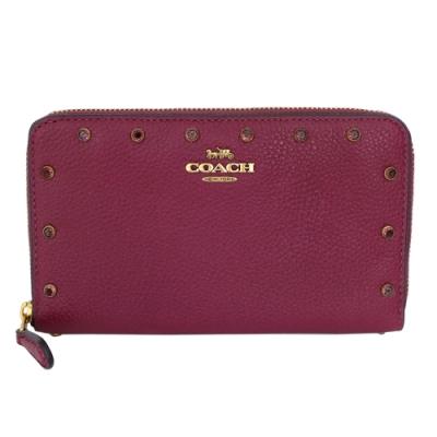 COACH紅莓紫荔枝紋全皮點鑽拉鍊中長夾