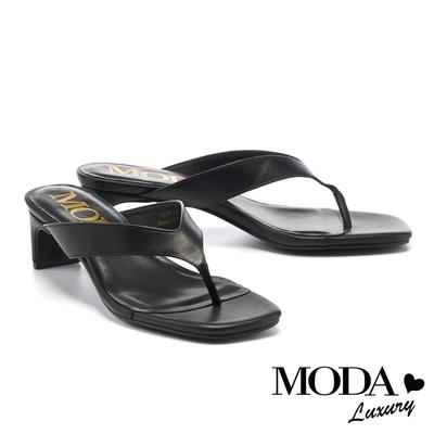 拖鞋 MODA Luxury 個性牛皮方頭人字高跟拖鞋-黑