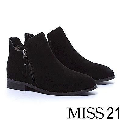 裸靴 MISS 21 俐落剪裁率性拉鍊牛麂皮粗跟裸靴-黑
