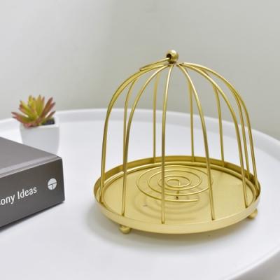 Meric Garden 復古創意手工金屬蚊香盤/薰香盤/小物收納盤(金色圓鳥籠)