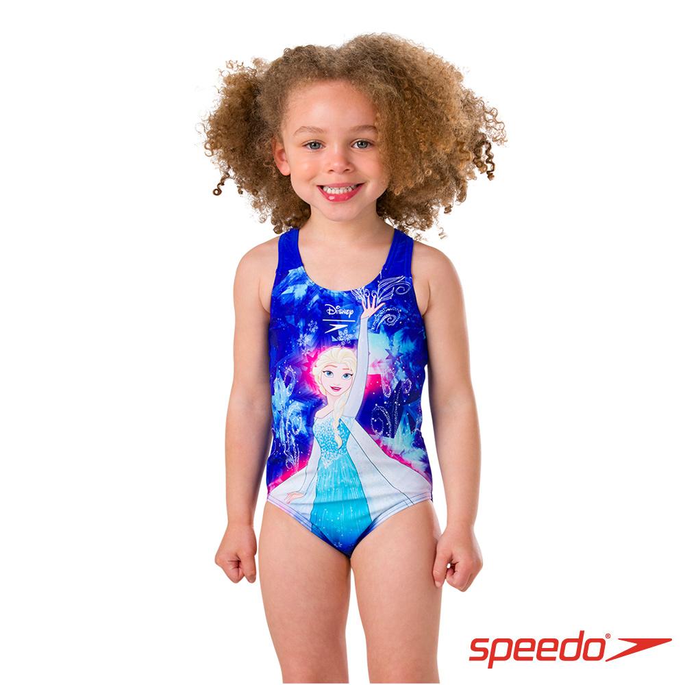 SPEEDO 女童 休閒連身泳裝 冰雪奇緣 粉藍