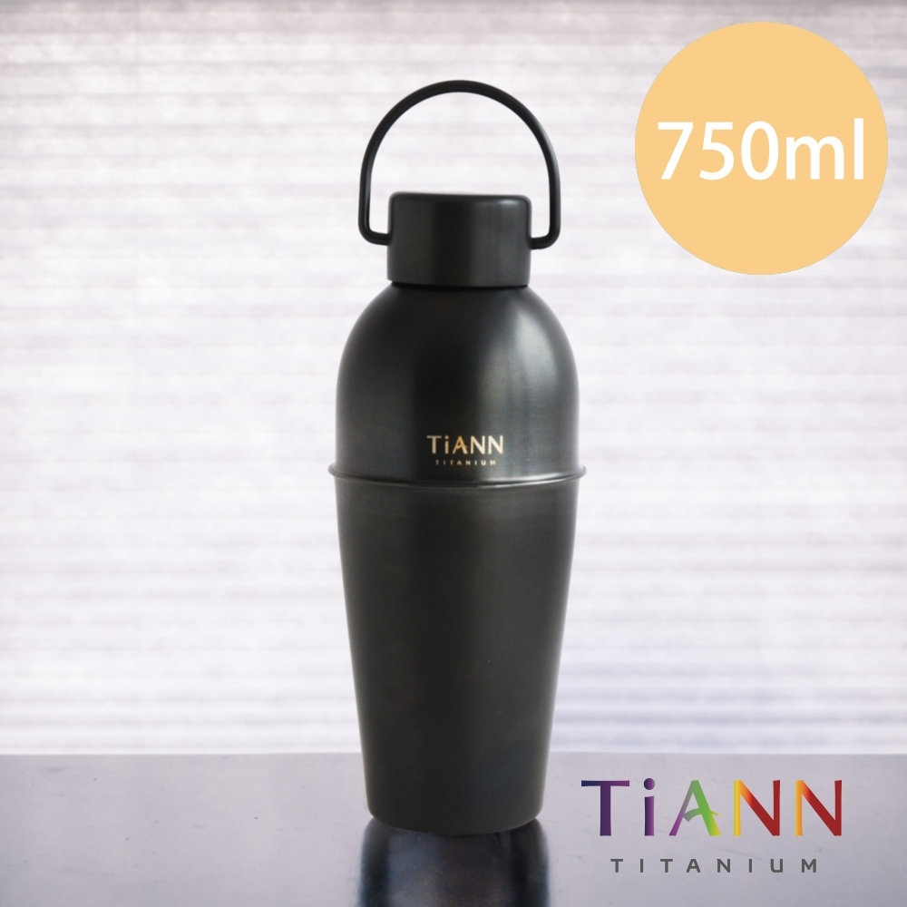 TiANN 鈦安純鈦餐具 750ml 純鈦寬口酒水壺 尊爵黑 附專屬提袋