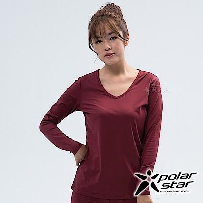 PolarStar 女 遠紅外線V領保暖衣『棗紅』 P18248