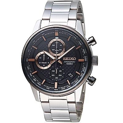 SEIKO精工CS縱橫城市時尚計時腕錶(SSB331P1)-灰黑色