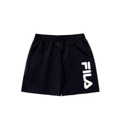 FILA KIDS 女童平織4分褲-黑色 5SHU-4915-BK