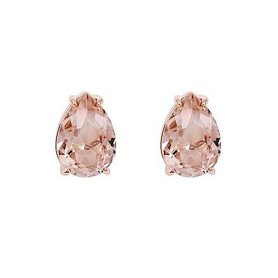 SWAROVSKI 施華洛世奇 璀璨古典粉水晶梨形玫瑰金耳環