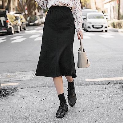鬆緊腰頭純色針織兩穿式魚尾裙-OB大尺碼