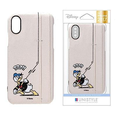 iPhone X 迪士尼 皮革/插卡 三口袋 手機硬殼 5.8吋-唐老鴨