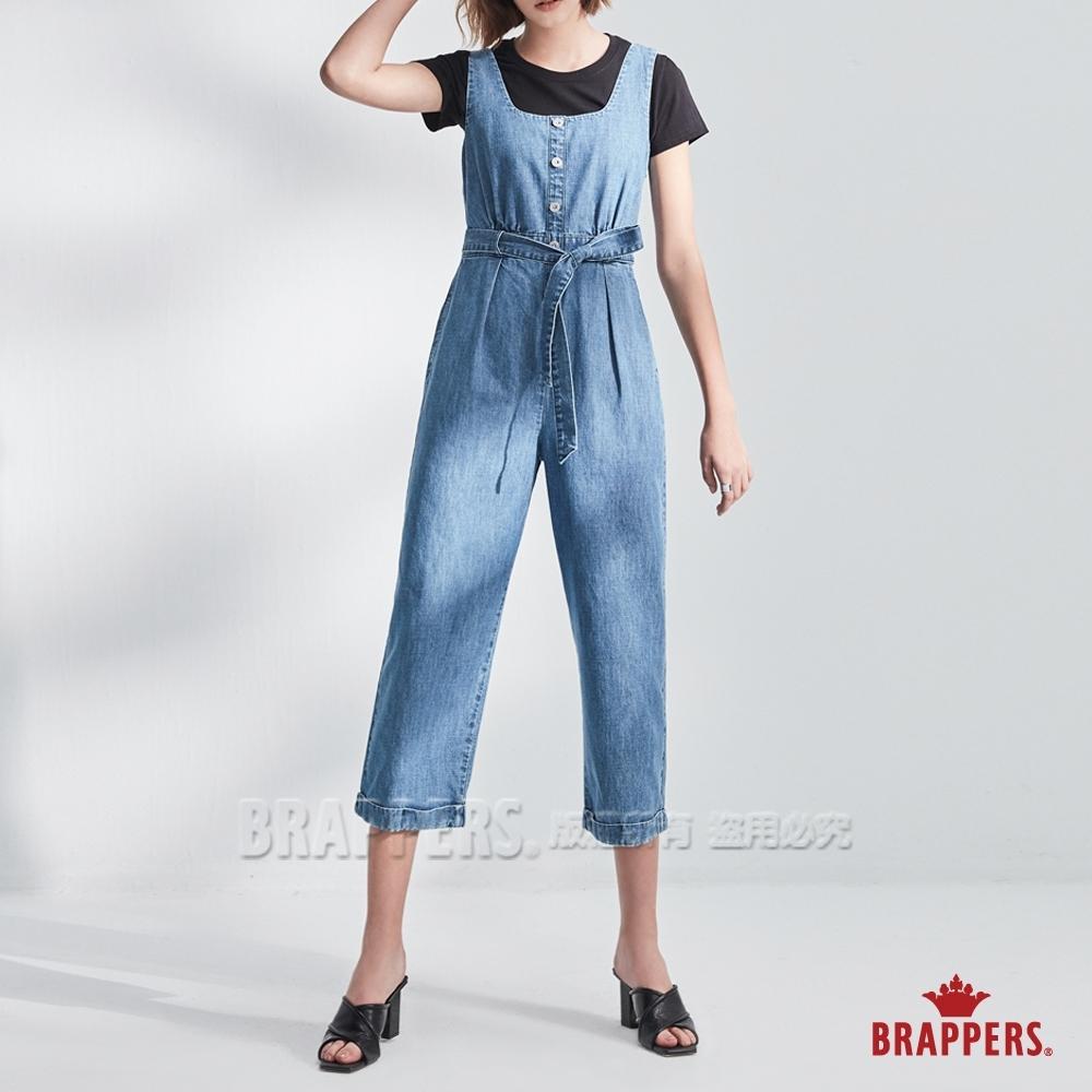 BRAPPERS 女款 Boy friend系列-鬆緊帶收腰吊帶寬褲-淺藍
