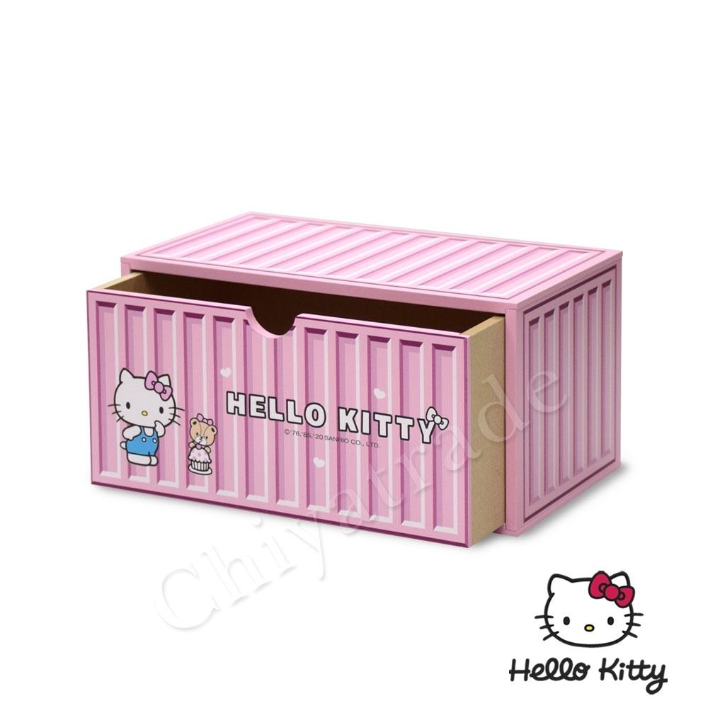 CY本舖 【Hello Kitty】凱蒂貓 貨櫃屋造型 單抽屜 收納盒 桌上收納 文具收納(正版授權)-粉