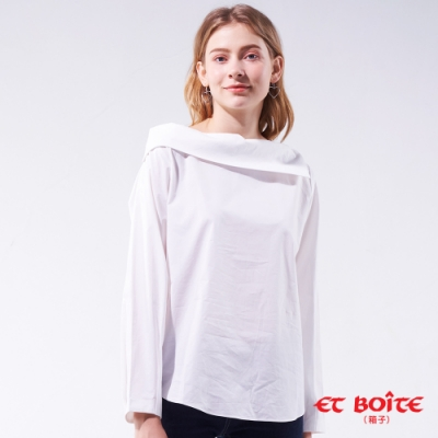 箱子 BLUE WAY -不對稱領造型襯衫(白)
