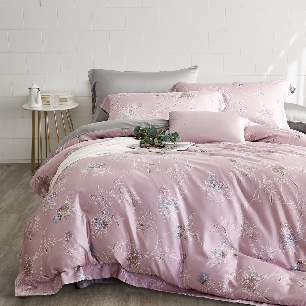 BUHO 300織100%TENCEL純天絲八件式兩用被床罩組-雙人加大(花紗香幕-粉)