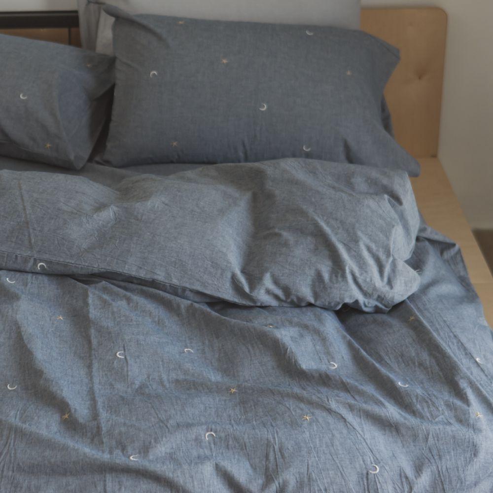 翔仔居家 新疆棉系列 雙人刺繡被套 - 丹寧藍x星星