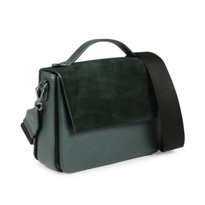 MARKBERG Luna 丹麥手工牛皮時尚拼接手提包/斜背包 (森墨綠)