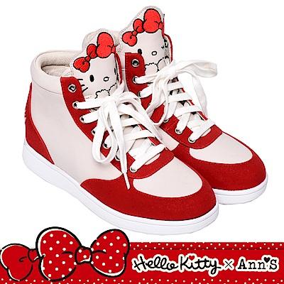 HELLO KITTY X Ann'S毛茸茸不對稱彩色刺繡內增高拼接球鞋